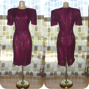Vintage 80s Beaded Party Dress Burgundy Merlot Mini Cocktail Trophy Formal Gown 8 Medium Flapper Gatsby