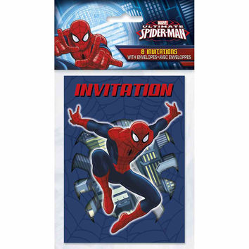 Spider-Man Party Invitations [8 Per pack]