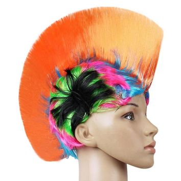 Rainbow Mohawk Hair Wig Rooster Fancy Costume Punk Rock Halloween Party Decor Hot Sale