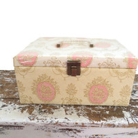 Vintage Jewelry Box Photo Box Quilted Shabby Chic Storage Cottage Chic Decor
