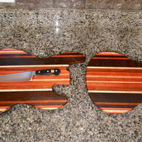 Handmade Wood Jazzy Bass and Rockin Guitar Cutting Board Set  -  Bloodwood, Cherry, Peruvian Black Walnut, Jatoba and Curly Maple
