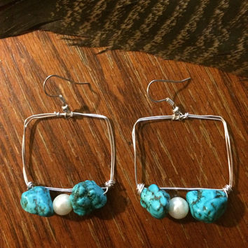Blue turquoise jewelry, blue turquoise earrings, white pearl earrings, silver and turquoise earrings, turquoise earrings, turquoise jewelry