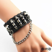 Black Bullet Braided Bracelet