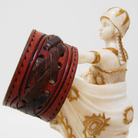 Leather Cuff Bracelet - Brown with Lacing Vintage Western Upcycled Belt - Ladies Size Small