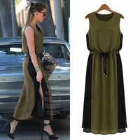 Chiffon Extra Plus Size Sleeveless Split One Piece Dress Top Women Tank Vest _ 12775