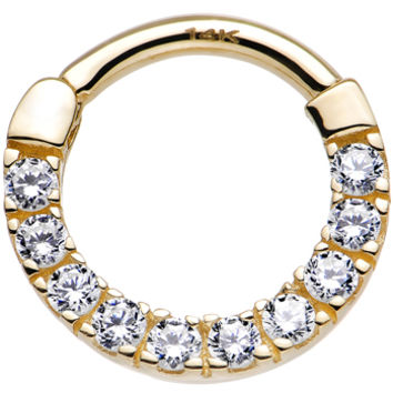 """14 Gauge 3/8"""" 14k Yellow Gold Clear Cubic Zirconia Halo Septum Clicker   Body Candy Body Jewelry"""