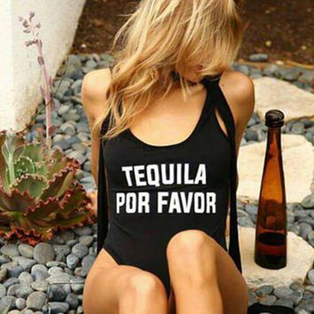TEQUILA POR FAVOR - Women's Sexy Funny One-Piece Swimsuit - High-Cut, Backless