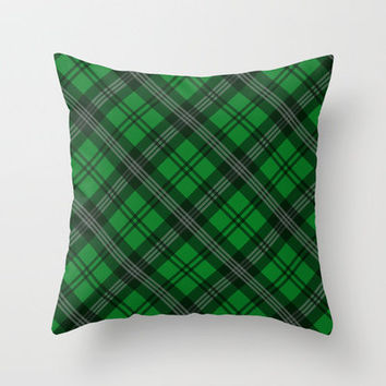 Scottish Plaid (Tartan) - Emerald Green Throw Pillow by ts55 | Society6