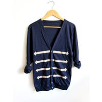 Slim Fit Long Military HAND STENCILED Slouchy Button Arrow Deep V Boyfriend Cardigan Jacket Navy and Gold - S M L XL