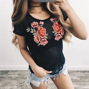 Rose Print Short Sleeve Embroidered  Top Black