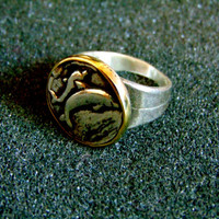 Stunning silver and bronze signet ring for men-Men's dolphin statement ring-Silver and bronze dolphin ring-Men's vintage signet ring