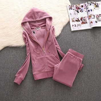 Juicy Couture Simple Pure Color Velour Tracksuit 611 2pcs Women Suits Cherry