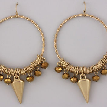 Rebel Gold Dangle Hoop Earrings