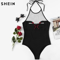 SHEIN Mesh Front Hand Embroidered Halter Bodysuit Sexy Body Suits for Women Black Sleeveless Halter Sexy Bodysuit