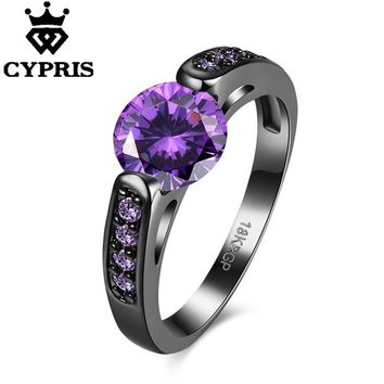 2017 Crystal Fashion Ring Set Black Gold Color  Engagement Jewelry Wedding Rings For Women ring cz