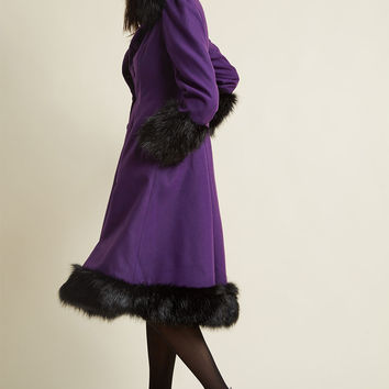 Hell Bunny Northeast Nobility Coat in Violet