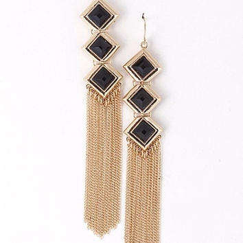 Triple Diamond Tassel Earrings - Black, Neon Yellow or White