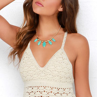 White Crow Pure Blossom Cream Crochet Crop Top