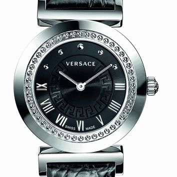 """Versace Women's P5Q99D009 S009 """"Vanity"""" Stainless Steel Watch with Leather Band"""