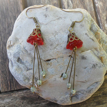 Fairy Bells delicate earrings, red floral earrings, lucite flower beads, vintage pale green luster Czech beads, antique bronze; UK seller