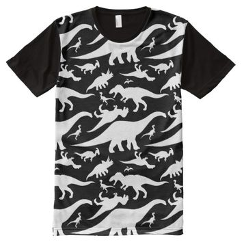 Black and White Dinosaur Pattern All-Over Print T-shirt