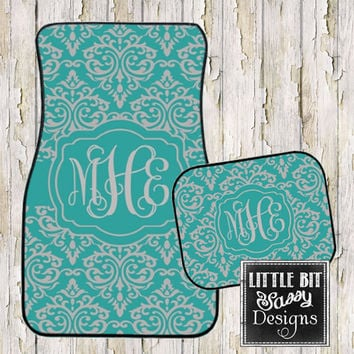 Car Mats Damask Personalized Monogrammed Floor Mat Initial