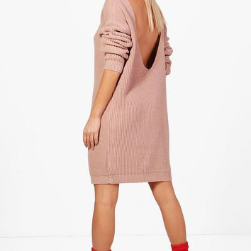 Amy V-Back Oversized Jumper Dress | Boohoo