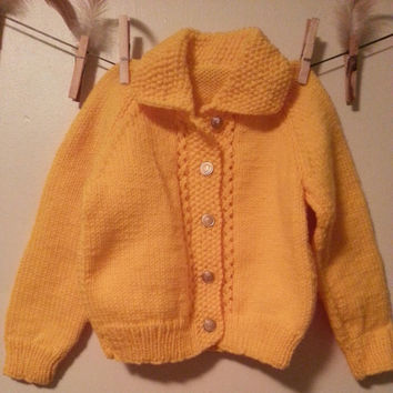 Goldenrod Vintage Toddler Handmad Cardigan with Gold Buttons Fits Size 12 months up to 18 months