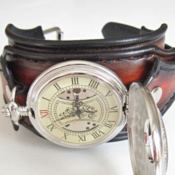 Pocket Wrist Watch, Leather Watch Cuff, Skeleton Watch Pocket Wrist Watch