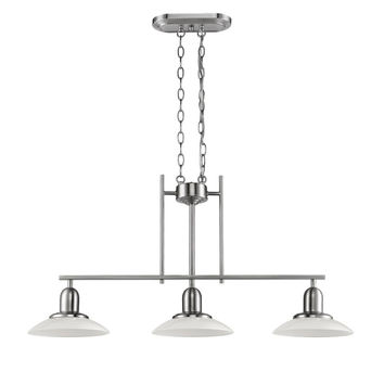 "NELEH Transitional 3 Light Brushed Nickel Island Fixture 32"" Wide"
