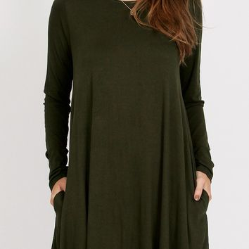Olivia Pocket Dress In Olive
