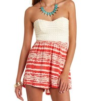 BOW-BACK CROCHETED & PRINTED STRAPLESS ROMPER