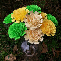 Paper Flowers - Zinnia Paper Flowers in Lime, Yellow and Cream (12) - Perfect for weddings, bridal bouquets, anniversaries, showers