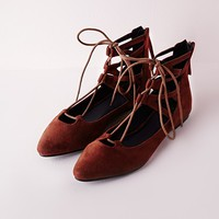 Missguided - Lace Up Pointed Flats Rust