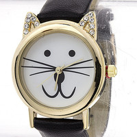CZ Cat Leather Watch 32mm - Black