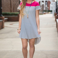 Dockside Dress, Blue/Pink