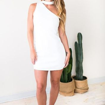 Back to You One Shoulder Dress in White