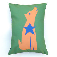 Wolf Dog Coyote Orange with Blue Star Green Pillow Cover 12 by 16 inch, Decorative Throw Pillow Cover, Cushion Cover, Sham