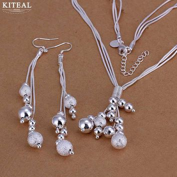 floating charms silver plated jewelry sets Sand beads Necklace& long Earring african jewelry set margarida