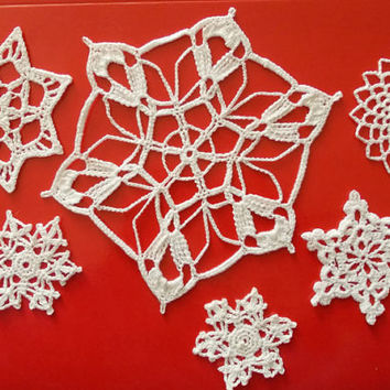 6 Lace Crochet snowflakes, Crochet Snowflakes, Christmas ornament, Crochet Christmas decor, appliques snowflakes, Christening decor, wedding