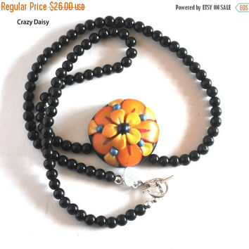 On Sale Yellow and Orange Flower Necklace, Dome Pendant, Blue Beaded Necklace, Black Beads, Handmade Pendant, Polymer Flower, Artisan Jewelr