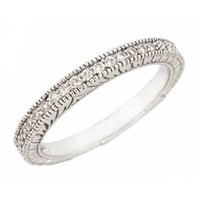 10K White Gold Diamond Wedding Anniversary Band Ring Antique Style 0.19ct in Pave Setting (I Clarity, I Color)