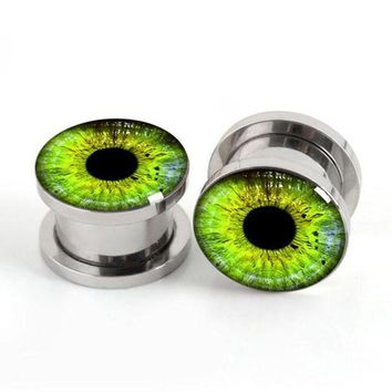 ac ICIKO2Q Pair of Green Eyes plug gauges stainless steel screw fit ear plugs flesh tunnel ear expander SPP037