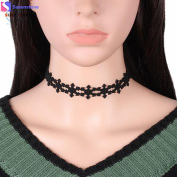 SUSENSTONE Necklace Women Gothic Lace Snowflake Choker Necklaces Collar Pendant Chain Necklace Jewelry black Pink