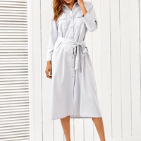 Light Grey Button Down Tie-Waist Shirt Dress