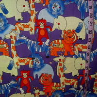 Scrubs fabric Flu and the Zoo animals medical office nurse  1yd cotton quilting sewing material by the yard