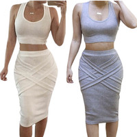 2 Piece Set Women Summer Dress 2016 Fashion Women Clothing White Yellow Casual Sexy Club Midi Bandage Bodycon Party Dresses _ 9229
