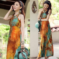 Women Bohemian Boho Style Sexy Chiffon Floral Print Evening Prom Long Maxi Dress F_F (Color: Orange) = 1902699268