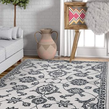 3959 Gray Floral Traditional Area Rugs
