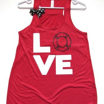 SALE - SMALL - FIREFIGHTER LOVE TANK - Ruffles with Love - Racerback Tank - Womens Fitness - Workout Clothing - Workout Shirts with Sayings